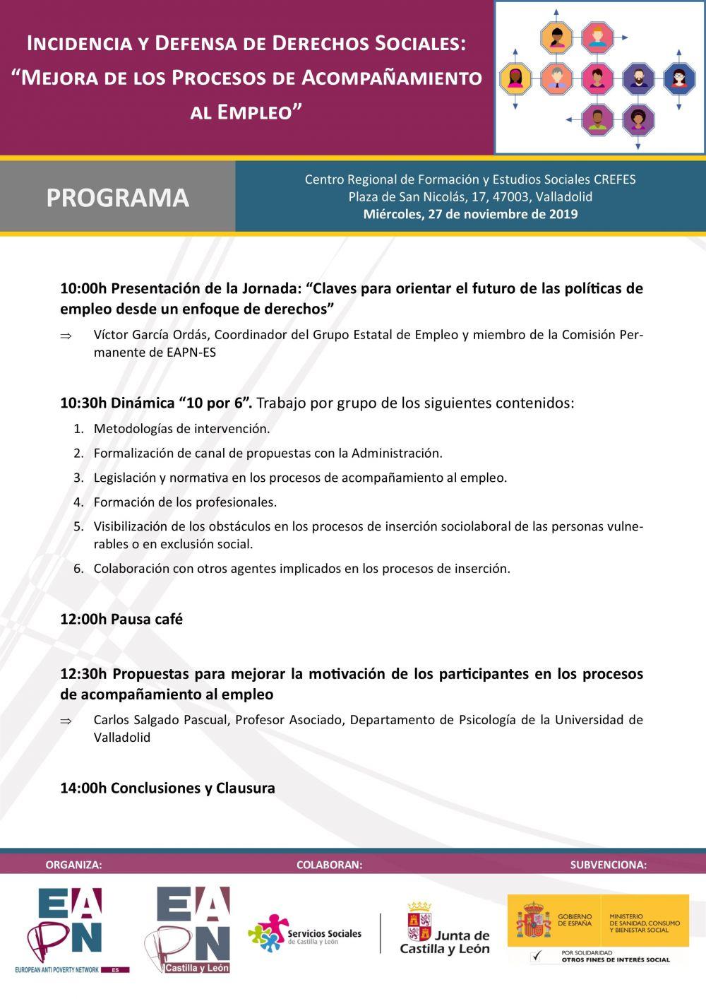 """Valladolid_27/11/2019_Jornada: """"Incidencia y Defensa de Derechos Sociales: mejora de los Procesos de Acompañamiento al Empleo"""""""