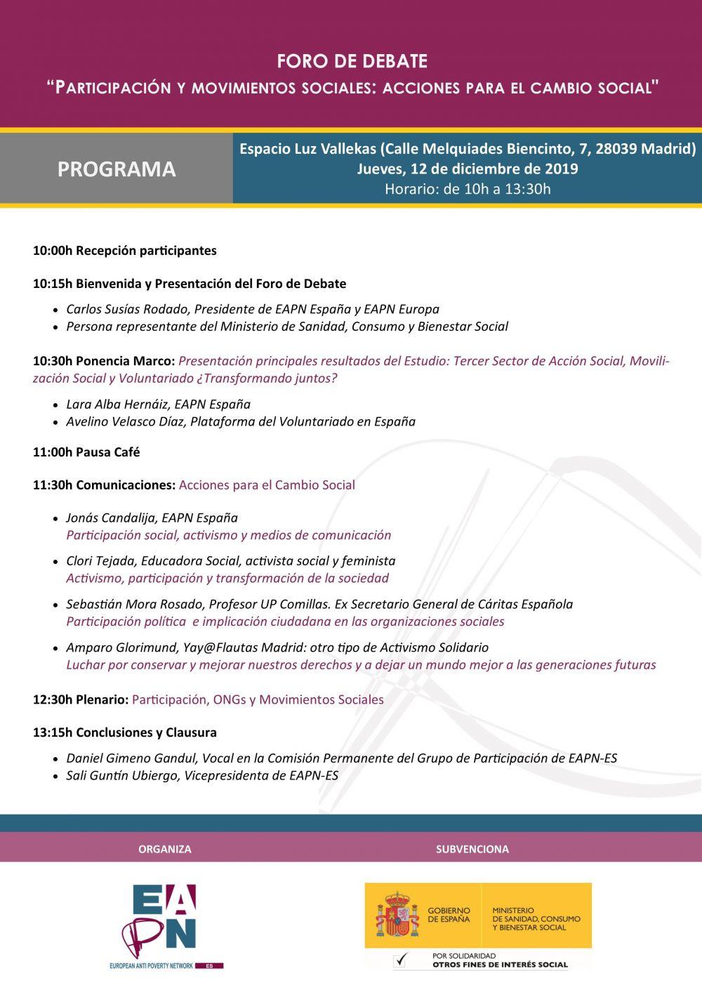 Foro de debate: Participación y Movimientos Sociales