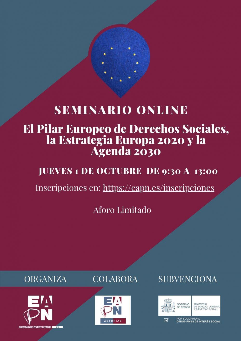 """01/10/2020_Seminario: """"El Pilar Europeo de Derechos Sociales, la Estrategia Europa 2020 y la Agenda 2030"""""""